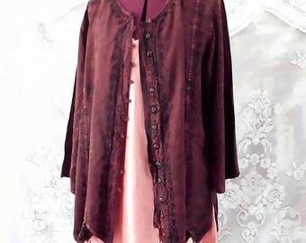 Boho Cinnamon Brown Emblished Cotton Shirt Bolero #KheGreen