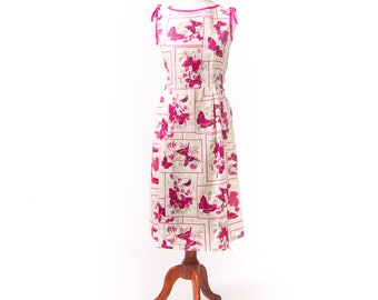1950s Happy Home Butterfly Print Sundress/ 50's Cotton Summer Dress Deadstock Extra Large Plus Size