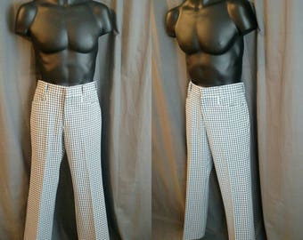 1970s Levi's Panatela Pants for men /70s Poly Pants by Levi's / Blue and White with Black Checkered Flat Front Slacks