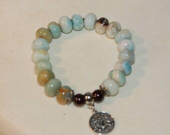 Virgo Zodiac Sign Gemstone Charm Bracelet Amazonite Bracelet Garnet Stackable September Birthday Calming Meditation Bracelet for Her