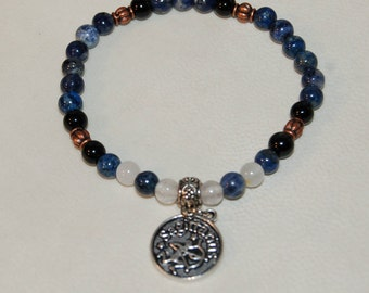 Sagittarius Zodiac Sign Gemstone Charm Bracelet Sodalite Obsidian Quartz Bracelet Stackable Zodiac Jewelry Calming Meditation Bracelet Her