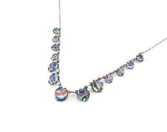 Art Deco Necklace. 1930s Open Back Crystal. Rainbow / Iris Glass. Pastel Rose Pink, Blue, Green Stripe. 835 Silver. Vintage Art Deco Jewelry