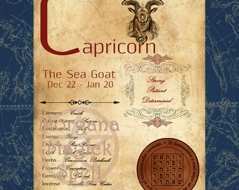 CAPRICORN  ZODIAC, Digital Download, Astrology, Print, Constellation, Horoscope,   Book of Shadows Page, Wicca, BOS, Grimoire,
