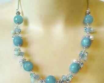 Collier Grappe Pierre de Quartz bleu facetté, Amazonite, perles Culture, Cristal de Swarovski / Cuir et Plaqué argent - Blue Quartz Necklace