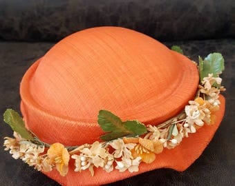 Vintage Orange Pillbox Hat