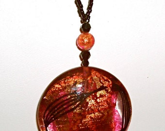 SALE!  Beautiful Black, Red, Gold Murano Disc Necklace