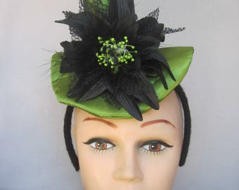 Peridot Green Stuffed Satin Mini Witch Hat with Black Lily Flower, Maribou Feathers, Spider n Sequins