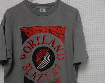 vintage Portland Blazers T Shirt 80s 90s Starter XL Trailblazers NBA basketball single stitched gray tee rare hoops hip hop street wear USA