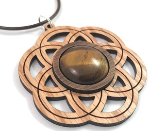 Tigers Eye and Wood Seed of Life Pendant - Natural Sustainable Wooden Necklace with 20mm Genuine Gemstone - Walnut on Oak