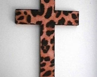 ANIMAL PRINT (Cheetah) Wall Cross -  w/ cheetah eco felt