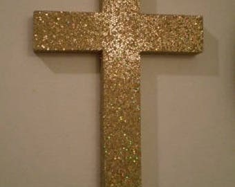 "GOLD/ANTIQUE GOLD Glitter Wall Cross -Decorative Cross in Super Sparkling Octagon/Prisma Glitter - 9.5"" or 12"""