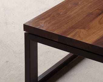 solid walnut coffee table with custom recycled content steel base - modern urban - contemporary hardwood furniture