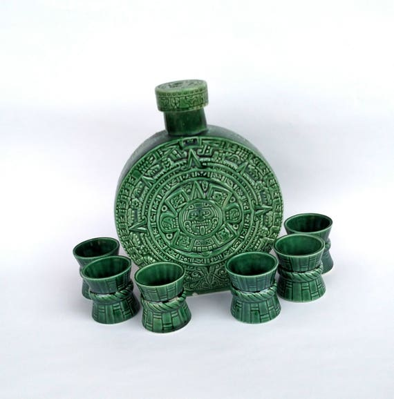 Vintage 1970's Kahlua Mayan Decanter and Shot Glass Set in Green Ceramic