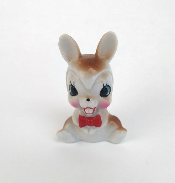 Vintage Bunny Rabbit in Red Bow Tie Figurine made in Japan by Arnart
