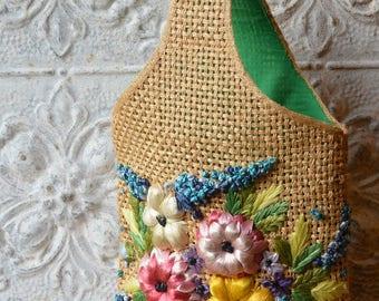 1960's Floral Raffia And Wicker Vintage Market Bag