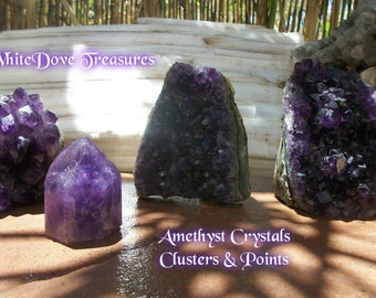 "AMETHYST CRYSTAL CLUSTER ~ Large Crystal Points & Druzy Choices 3""-4"" ~ 1.2lbs-1.8lbs Dark Violet ~ Reduced Shipping"
