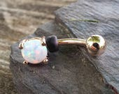 Rose Gold Belly Button Ring White Opal Prong Set