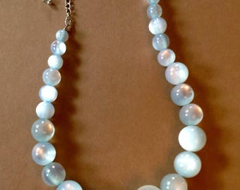 Moonglow Blue Lucite Necklace Graduated Beads