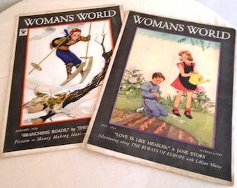 Vintage 1930s Magazines Woman's World Magazine Two Different 1933 and 1934 Choice of Year