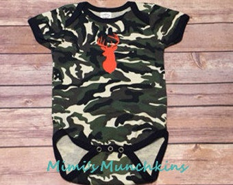 Baby/Infant Bodysuit, Camo, Deer Head Silhouette, 2 Sizes available, Ready to Ship