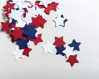 200 Red, White and Blue Star Punches, Party Decor, Confetti, Nautical, 4th of July, Patriotic