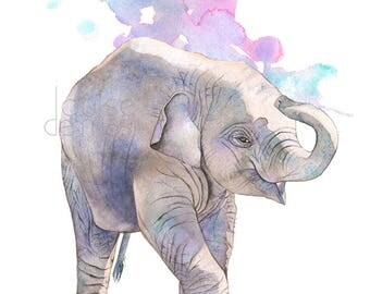Baby Elephant print of watercolour painting, A4 size, E22117, Baby Elephant watercolor painting print, Art for nursery, baby animal print