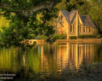 Summer Pond and Reflection, Lake Afton, Landscape Photograph, Old Library, Morning Light, Bucks County, Pennsylvania, Yardley, Home Decor