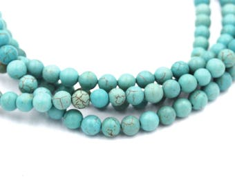 5-6mm Golden Turquoise Blue Magnesite Round Beads -15 inch strand