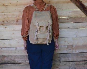 Vinatge Raw Leather backpack 70's Hiking Rucksack Backpack VINTAGE leather backpack