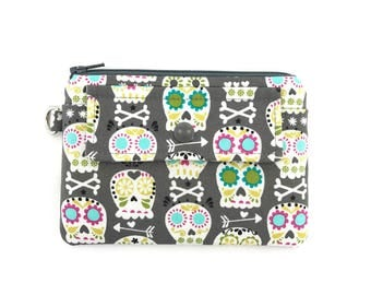 Sugar Skull Coin Purse - Skull Zipper Pouch - Snap Wallet - Card Case - Gift ideas - Padded Pouch - Gray Change Purse - Keychain Wallet