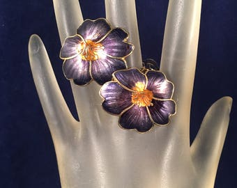 Vintage Purple Enamel Flower Clip on Earrings, Purple Orange and Gold Clip on Flower Earrings 1.25 Inches Wide 1 Inch Long