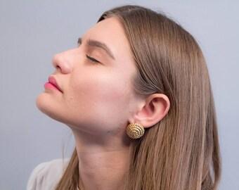 80s Rope Earrings / Sculptural Swirl Earrings / Bold Statement Earrings / Costume Jewelry / Fashion Earrings / Button Earrings