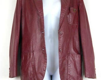ETIENNE AIGNER Vintage 1970s Genuine Leather JACKET Women's  Size 12 Burgundy / Oxblood / Wine Color