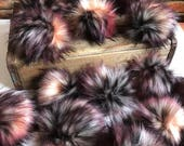 Twisted Faux Fur Pom Poms Limited Edition Purple Pink Peach Black White Mixed Plush Handmade Vegan Cruely Free for Toques Beanies Hats