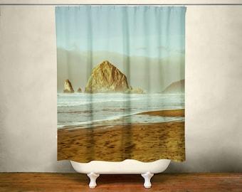 Nautical Shower Curtain, Beach Bathroom, Cannon Beach Oregon, Nautical Decor, Blue Shower Curtain, Ocean Bathroom, Sea Bath, Oregon Coast