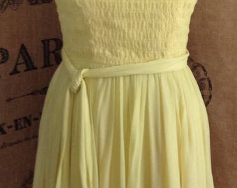 1960's chiffon party dress yellow