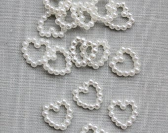 12mm Ivory Pearl Heart Embellishments (20)