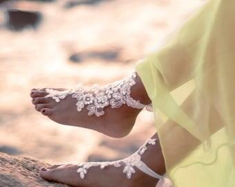 Beach Wedding Foot Jewelry- Bridal  Barefoot Sandals- Anklet- Lace Barefoot Sandals- Barefoot Wedding Shoes- Footless Sandals- Boho Wedding