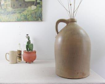 stoneware pitcher,stoneware jug,pottery jug,salt glazed jug,Upstate NY,farmhouse antiques,antique pottery jug,stoneware crock