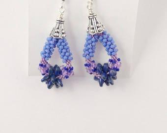BLUE HANDMADE BEADED Kumihimo, Dangle Earrings with Silver Beadcaps