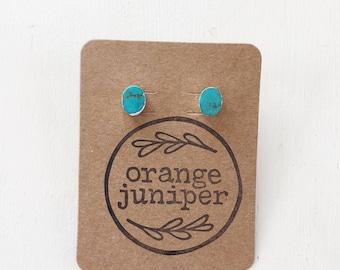 Oval Turquoise Stud Earrings || Turquoise Earrings, Stud Earrings, Bohemian Earrings, Boho Earrings, Silver Earrings, Blue Earrings
