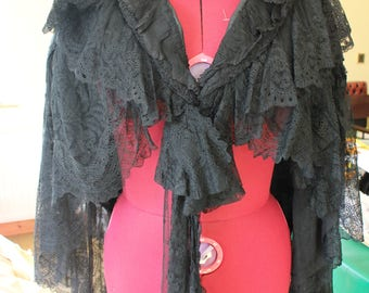 RESERVED +++ Victorian Edwardian Chantilly Lace Black Mourning Cape Cloak Gothic Antique Vintage