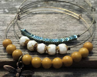 Expandable Beaded Bangle Bracelets- copper dragonfly set of 3- adjustable bangle, stacking bracelets