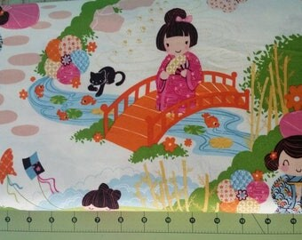 Alexander Henry AOI Has 2 Sisters Japanese Girls Quilting Cotton Fabric by the Yard or Half Yard