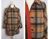 Vintage 1960's/70's Penguin Orange + Gray Plaid Coat L/XL