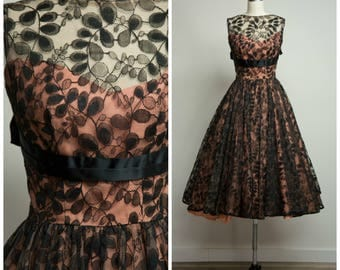 Vintage 1950s Dress • Flourished Fanciness • Black Lace 50s Formal Evening Gown Size XSmall