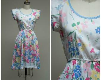 Vintage 1970s Dress • Donna Dances • Floral Print Cotton Blend 70s Day Dress Size Small