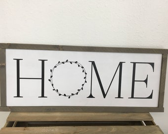 Wood Framed Home Sign - Farmhouse Style Sign in Custom Colors  - 9.5X23.5