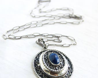 Large Mexican Locket Blue Lapis Secret Compartment Pendant 28 Inch Boho Necklace Sterling Silver Statement Jewelry