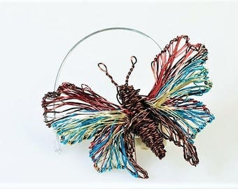 Brown turquoise Butterfly brooch Cute pin Wire wrapped jewelry Insect art jewelry Mothers day gift Modern boho Christmas gift for girlfriend